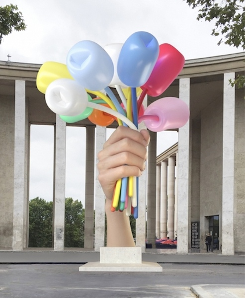 A rendering of Jeff Koons's Bouquet of Tulips. The work was to be installed in the city of Paris France in 2018 to honor the attacks on people in 2015