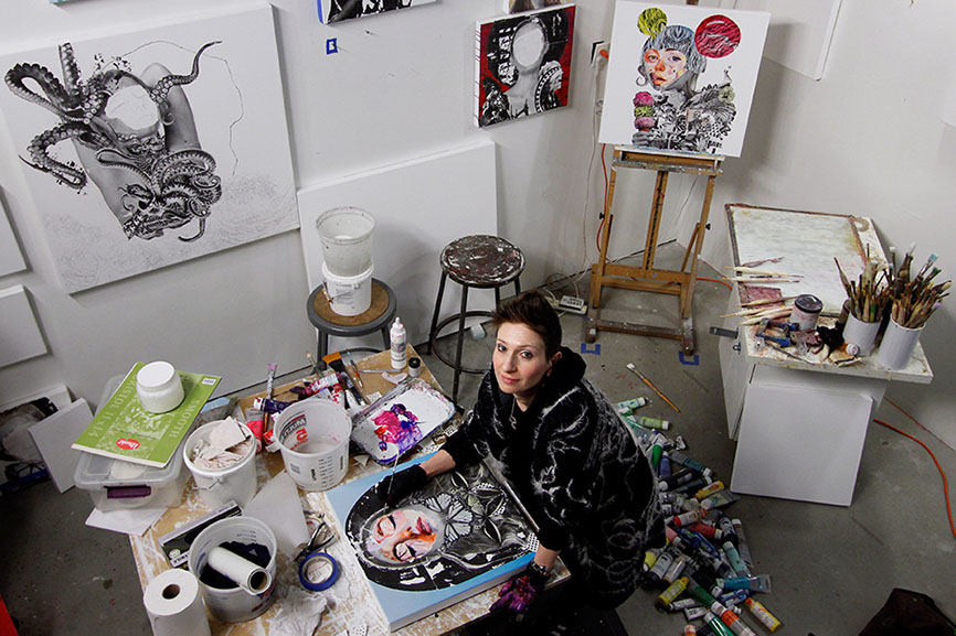 AM DeBrincat in her Brooklyn, New York art studio