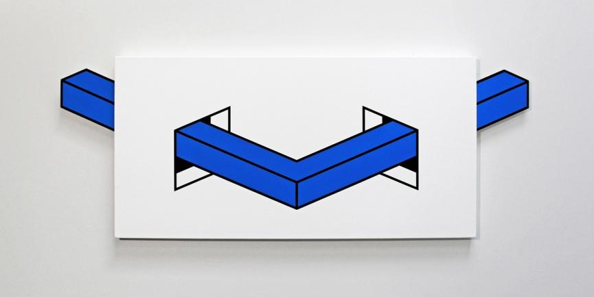 Aakash Nihalani, Untitled (Blue), acrylic, flashe, mixed media, canvas, corrugated plastic, wood, magnets, 2014 - Wunderkammern
