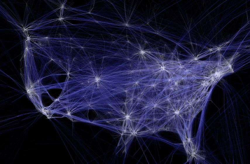 Aaron Koblin - Flight Patterns downtown visualization wilderness ted (detail), 2009