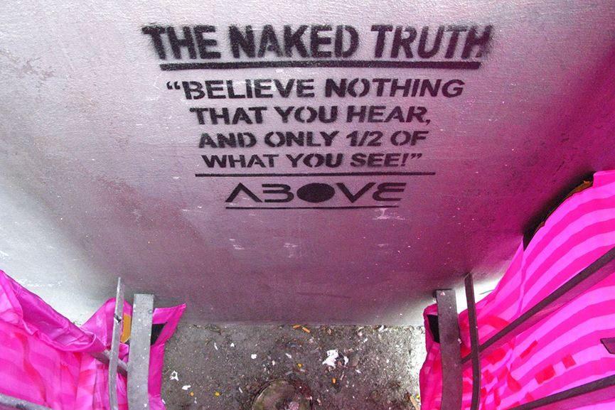 Above - Naked. Shower head installation, Copenhagen, Denmark, June 2009