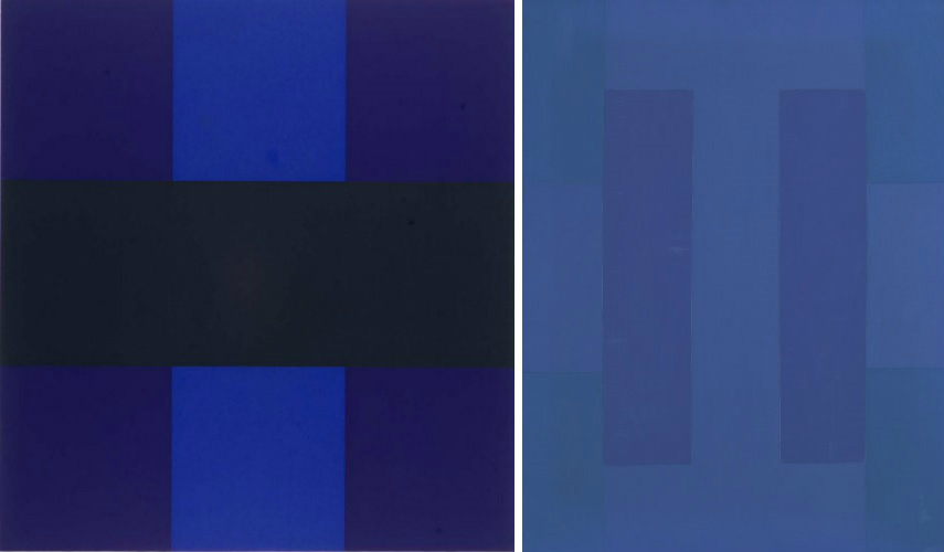 "Ad Reinhardt - Untitled, 1966, photo via cavetocanvas.com (Left) - Abstract Painting Blue, photo via mutualart.com "" museum robert artist painter gallery painters moma"