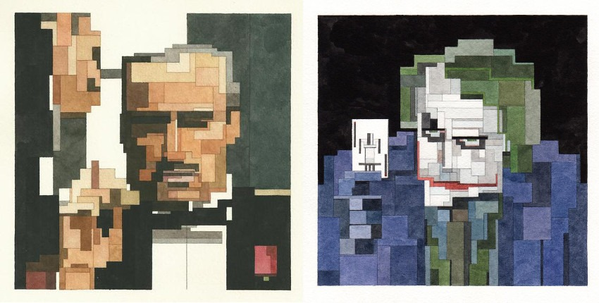 Adam Lister - The Godfather (Left) / The Joker (Right) adamlistergallery watercolors search