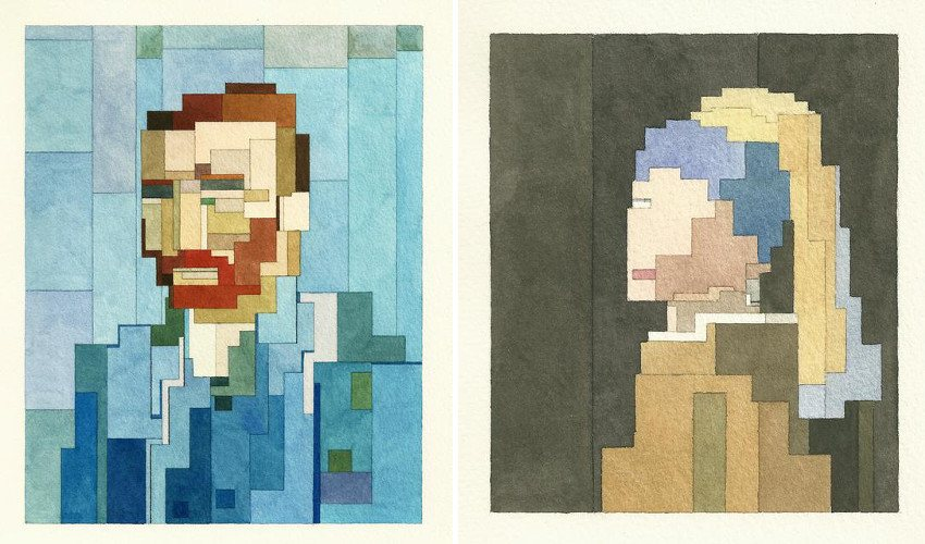 Adam Lister - Van Gogh s Self Portrait (Left) / Girl with a Pearl Earring - 2014 (Right) search bit