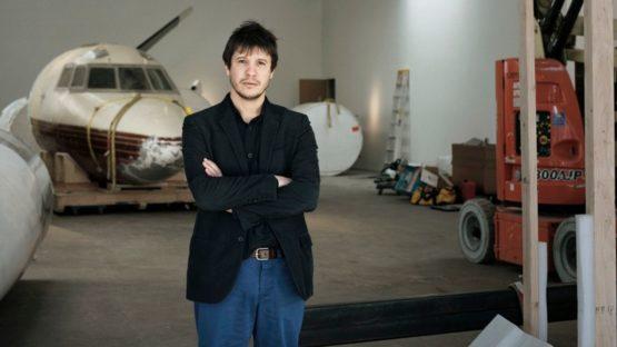 Adel Abdessemed installing his solo exhibition RIO at David Zwirner, New York in 2009, conceptual art