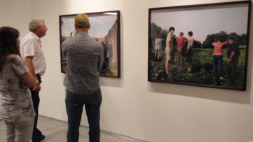 Adi Nes, People looking at artists work at The Village, May 17, 2012, Sommer Contemporary Artist, Selling Time Blog