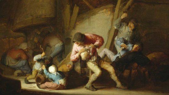 Adriaen Jansz. van Ostade - Interior with Drinking Figures and Crying Children (detail), 1634