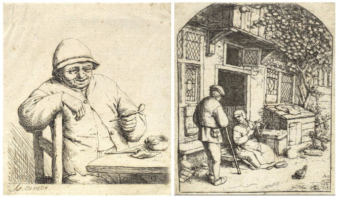 Adriaen van Ostade-Smoker Leaning on the Back of a Chair (Godefroy 6), Woman Winding Wool Upon a Reel (G25)-1684