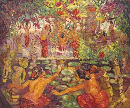 Adrien Jean Le Mayeur De Merpres-Nine Women By A Lotus Pond-1948