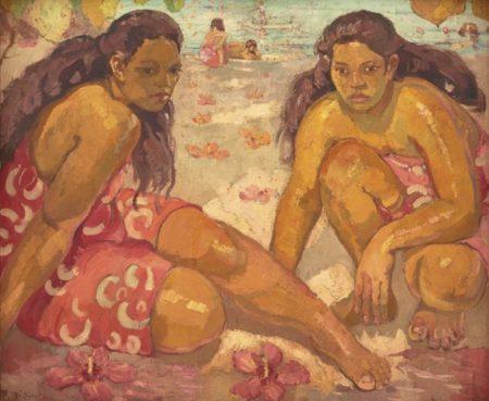 Adrien Jean Le Mayeur De Merpres-Two Women On The Beach Tahiti-1940