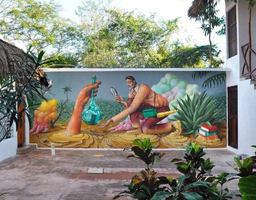 Aec Interesni Kazki - Petrified Science or Archeological Recursion, mural in Valladolid, Mexico