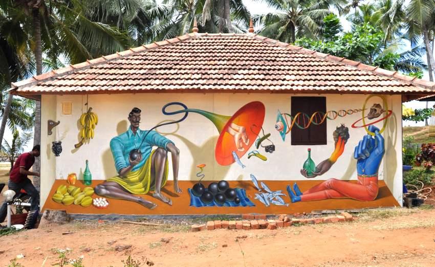 Aec Interesni Kazki - Seller of Black Holes, mural in Varkala, India 2015, photo credits of the artist