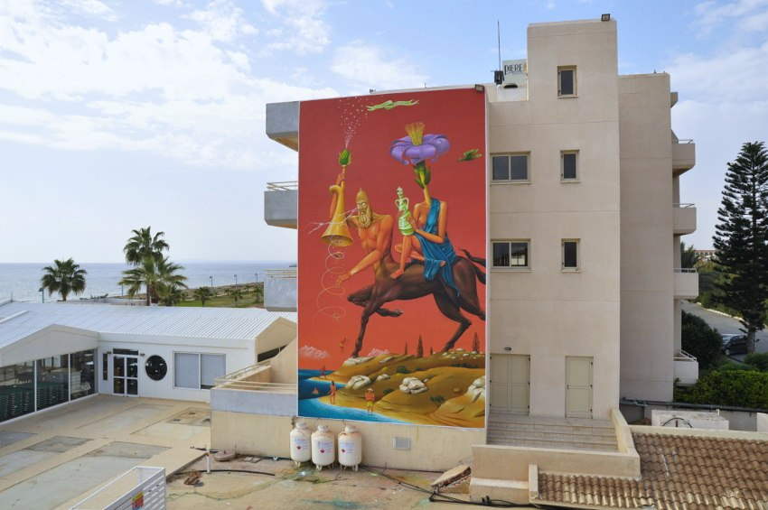 Aec Interesni kazki - Reappearance of Ancient Civilization, mural in Aiya Napa, Cyprus, 2014, photo credits of the artist