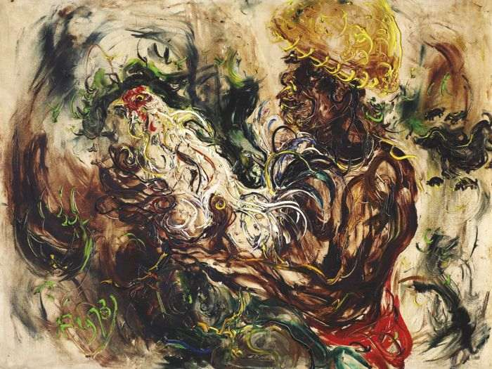 Affandi-Man With Cockerel-1973
