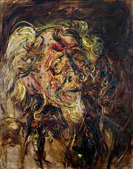 Affandi-Self-Portrait with a Statue-1978