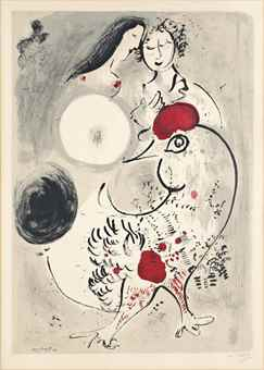 Marc Chagall-After Marc Chagall - Le Coq Gris-1950
