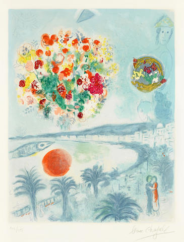 Marc Chagall-After Marc Chagall - Nice and the Cote d'Azur, Sunset-1967