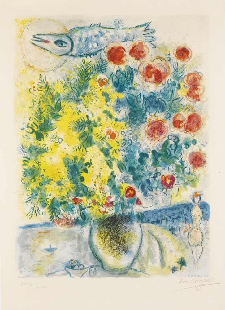 Marc Chagall-After Marc Chagall - Roses And Mimosa-1967