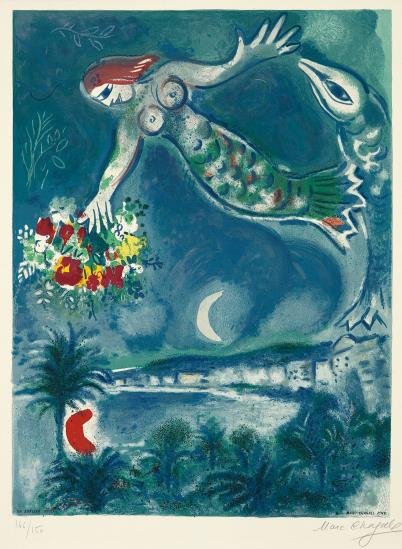 Marc Chagall-After Marc Chagall - Sirene et poisson, from Nice et la cote d'Azur (Siren and Fish, from Nice and the French Riviera), by Charles Sorlier-1967