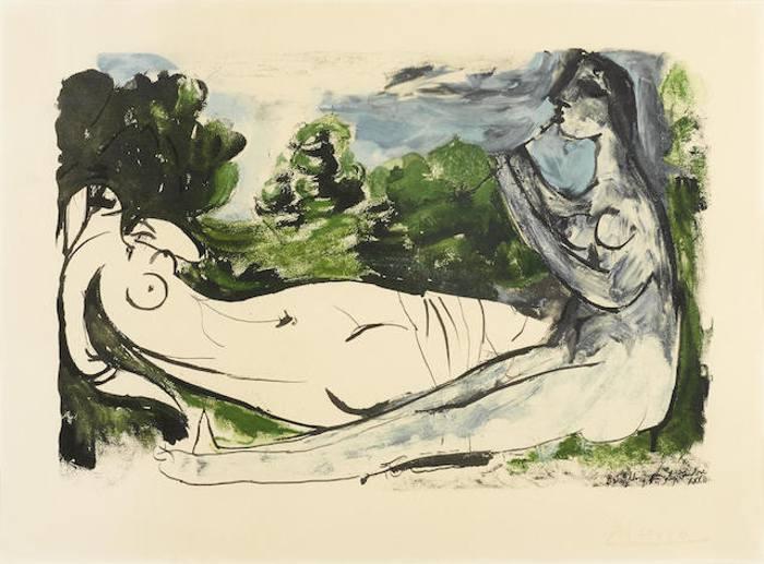 Pablo Picasso-After Pablo Picasso - Femme nue joueuse de flute-1932