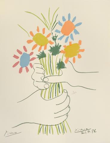 Pablo Picasso-After Pablo Picasso - Paz Estocolmo (Bouquet de fleurs)-1958