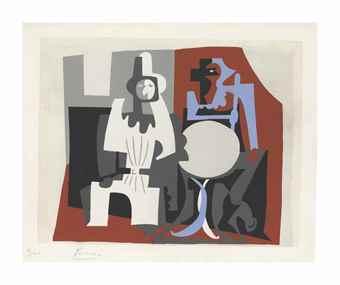 Pablo Picasso-After Pablo Picasso - Pierrot et Arlequin a la Terrasse de Cafe, from Dix Pochoirs-1920