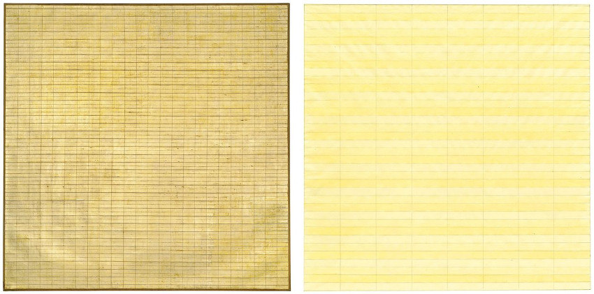 Agnes Martin - Friendship, 1963 (Left) - Untitled, 1977 (Right)