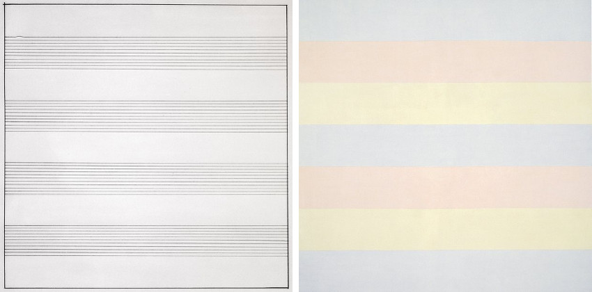 Agnes Martin - Untitled #10, 1990 (Left) - Untitled 5, 1998 (Right)
