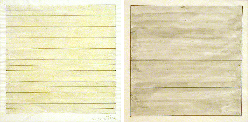 Agnes Martin - Untitled Drawing, 1979 (Left) - Untitled, 1994 (Right)