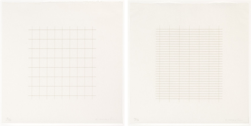 Agnes Martin - Untitled, On a Clear Day Series, 1973 (Left) - Untitled #25, On a Clear Day Series, 1973 (Right)