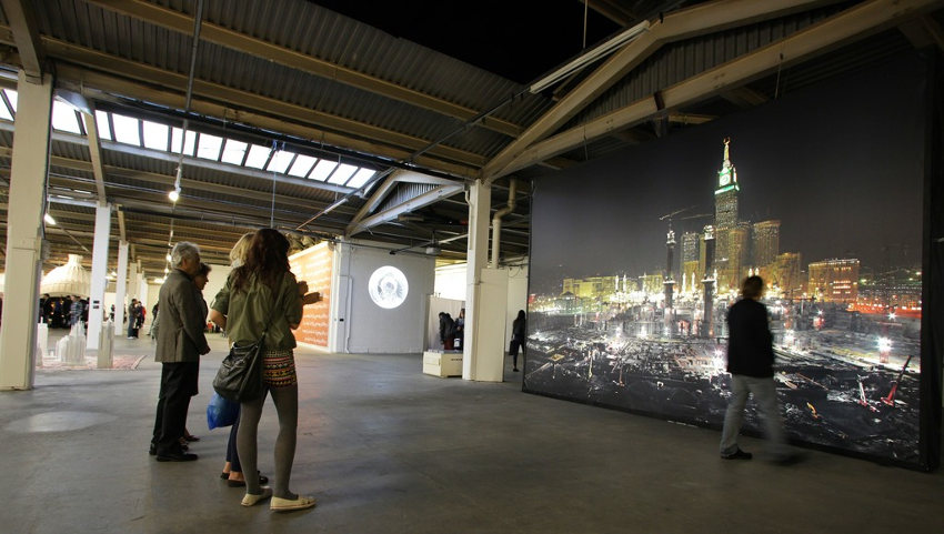 installation view of borderland artwork from desert of pharan series by ahmed mater