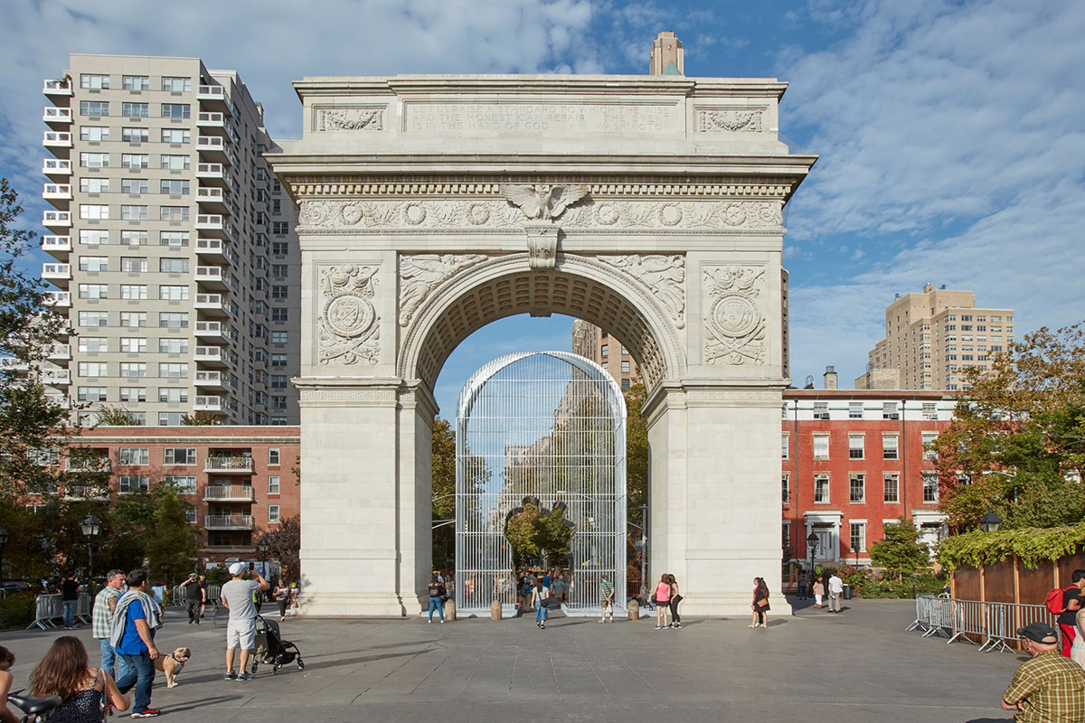 Ai Weiwei's Good Fences Make Good Neighbors art project in Washington Square Park