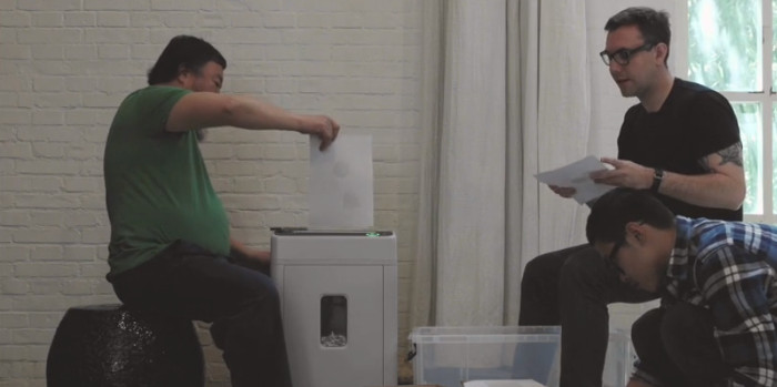 Ai Weiwei and Jacob Appelbaum working on Panda to Panda project, 2015