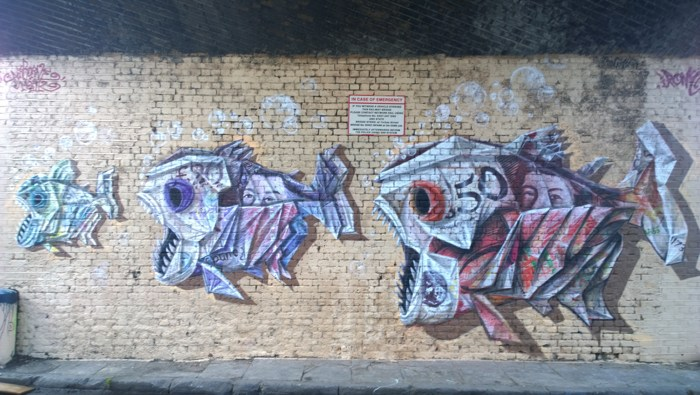 Airborne Mark and Irony - Piranha on Torbay Street in Camden, 2014