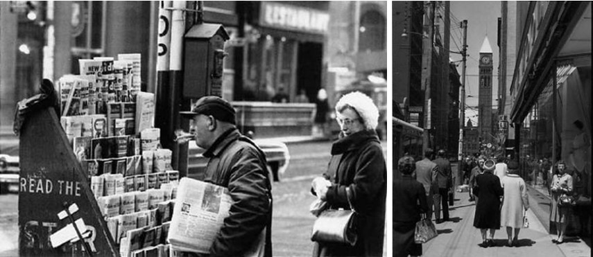 Albert Kish - Newspaper Stand, King Street, 1965 (Left) / Old City Hall on Bay, 1965 (Right)