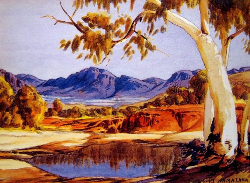 Albert Namatjira - Ghost Gum and Waterhole - Photo Credits AASD - Australia - Hermannsburg people in Melbourne have mission exhibition of national watercolour pieces