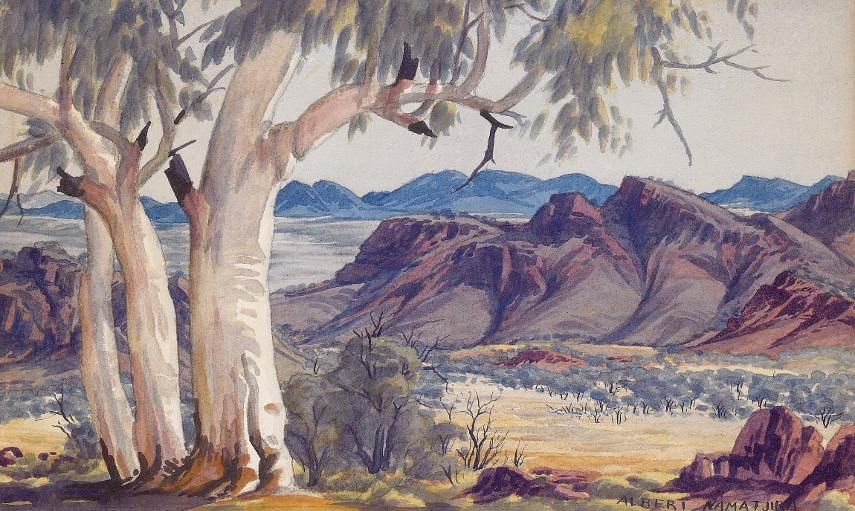 Albert Namatjira - Ghost Gums, MacDonnell Ranges - Photo Credits Mutual Art - Australia - Hermannsburg people in Melbourne have mission exhibition of national watercolour pieces