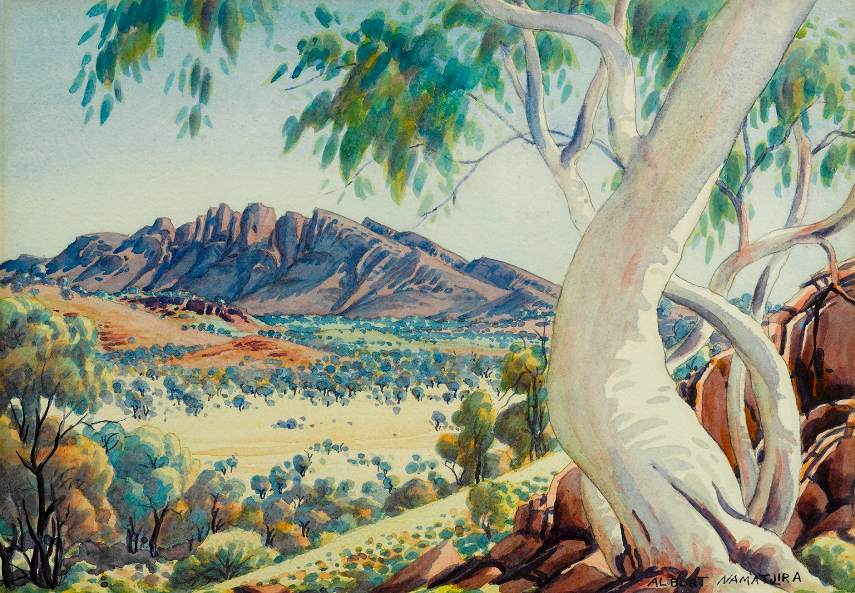 Albert Namatjira - Ghost Gums - Photo Credits Shapiro - Australia - Hermannsburg people in Melbourne have mission exhibition of national watercolour pieces