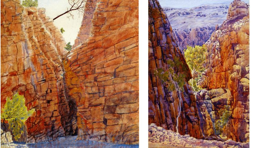 Albert Namatjira - Redbank Gorge Macdonnell Ranges, 1936 (left) --- Tailipate Western Macdonnell, 1945 (right) - Photo Credits Julia Ritson - Australia - Hermannsburg people in Melbourne have mission exhibition of national watercolour pieces