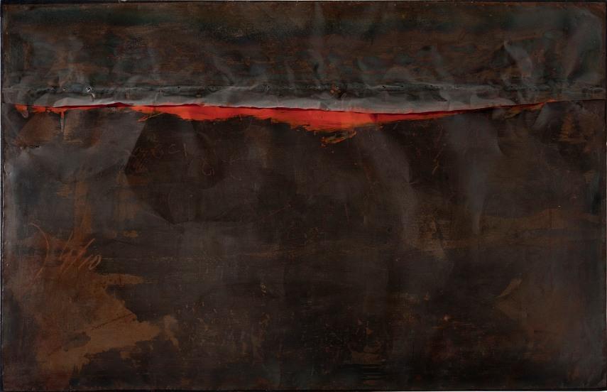 Alberto Burri - Ferro SP (Iron SP) in Guggenheim , 1961 - Image via hyperallergiccom