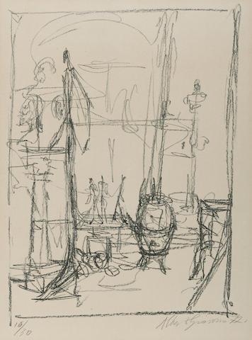 Alberto Giacometti-Figurines et Poele-1954