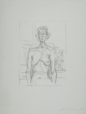 Alberto Giacometti-Nude with Flowers (Nu aux fleurs)-1960