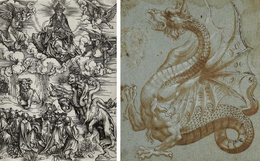 Albrecht Dürer - The Beast with Lamb's Horns, c. 1496–97. Circle of Guilio Romano, Study of a Dragon, after 1530