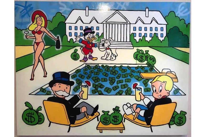 Alec Monopoly - Monops:Richie Drinks at the Pool with Jessica:Scrooge