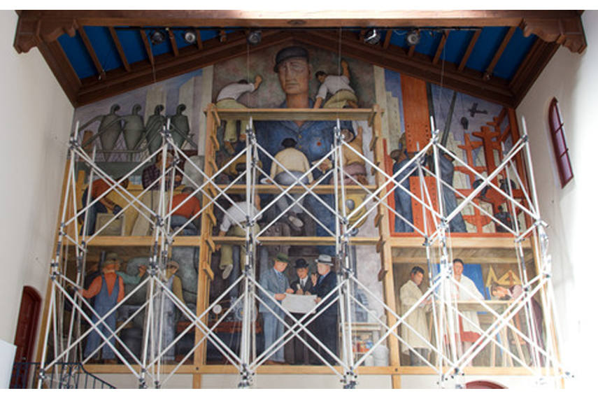 Alejandro Almanza Pereda s installation Change the World or Go Home in front of Diego Rivera s mural The Making of a Fresco Showing the Building of a City - Image via wsws org