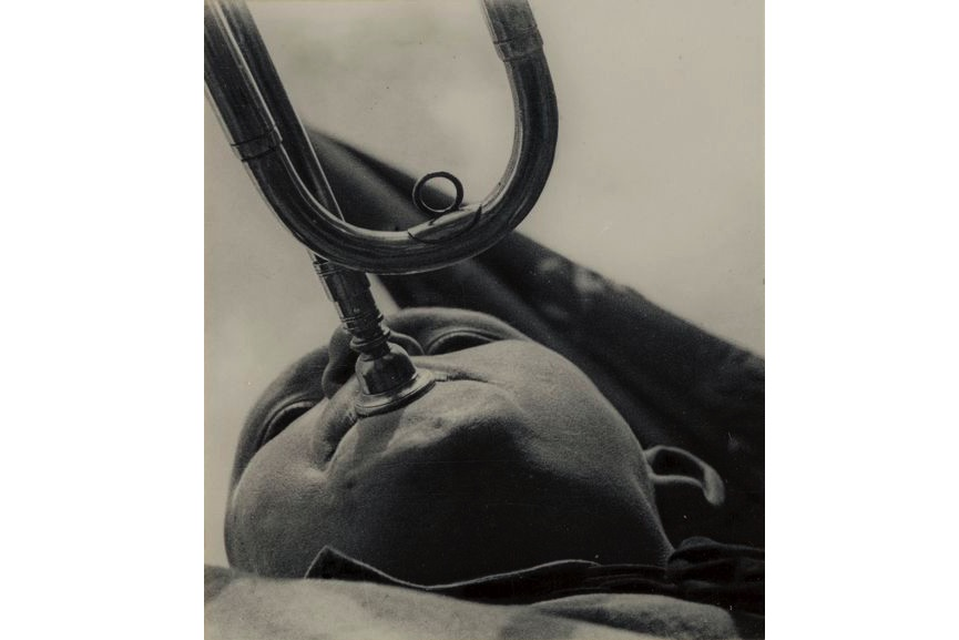 Aleksandr Rodchenko - Pioneer with a Bugle, 1930, from the New York gallery on view at MFA