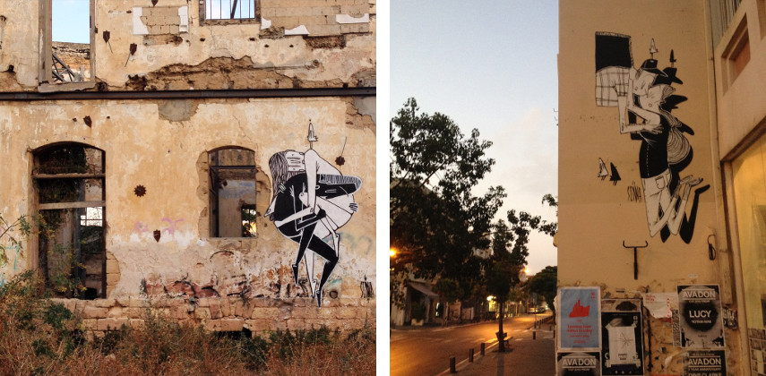 Alex Senna - Mural in Tel Aviv (Left, Right)