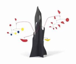 Alexander Calder-Crag with Yellow Boomerang and Red Eggplant-1974