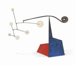 Alexander Calder-White Dots and Spiral on Blue and Red-1960