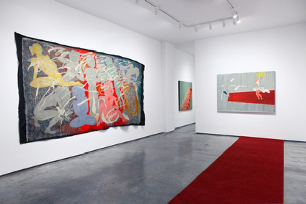 Alexander Kaletski - Red Carpet, 2014, Anna Zorina Gallery, New York, installation view, photo courtesy of Anna Zorina Gallery, cardboard painitngs, oil painting